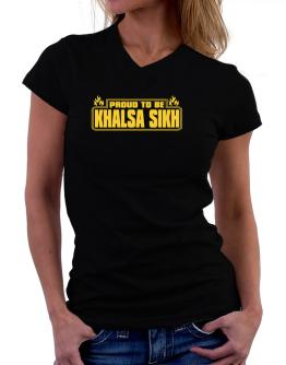 Proud To Be Khalsa Sikh T-Shirt - V-Neck-Womens