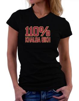 110% Khalsa Sikh T-Shirt - V-Neck-Womens