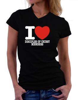 """ I love Disciples Of Chirst Members "" T-Shirt - V-Neck-Womens"