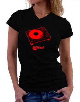 Retro Glitch - Music T-Shirt - V-Neck-Womens