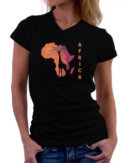 Africa map cool design T-Shirt - V-Neck-Womens