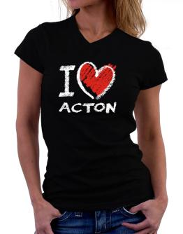 I love Acton chalk style T-Shirt - V-Neck-Womens