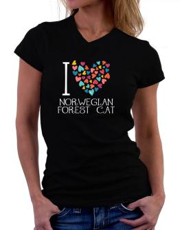 I love Norwegian Forest Cat colorful hearts T-Shirt - V-Neck-Womens