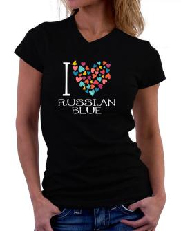 I love Russian Blue colorful hearts T-Shirt - V-Neck-Womens