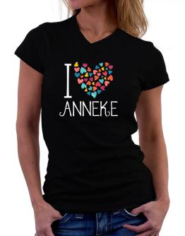 I love Anneke colorful hearts T-Shirt - V-Neck-Womens