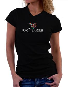 I love Fox Terrier colorful hearts T-Shirt - V-Neck-Womens