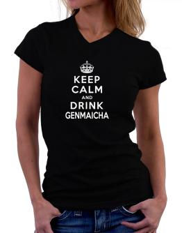 Keep calm and drink Genmaicha T-Shirt - V-Neck-Womens