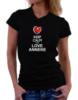 Keep calm and love Anneke chalk style T-Shirt - V-Neck-Womens