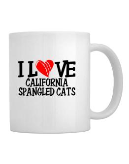 I Love California Spangled Cats - Scratched Heart Mug
