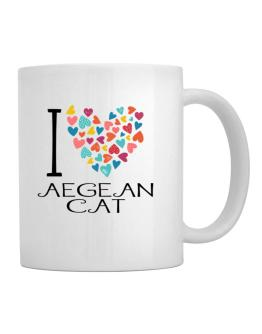 I love Aegean Cat colorful hearts Mug