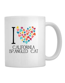 I love California Spangled Cat colorful hearts Mug