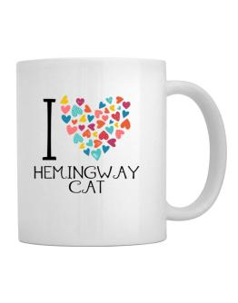I love Hemingway Cat colorful hearts Mug