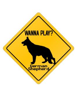 Crossing Sign de Wanna Play? German Shepherd