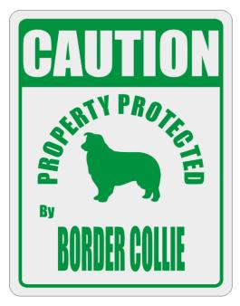 Caution Property Protected by Border Collie - 2 Parking Sign