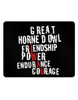 Great Horned Owl - Friendship, Power, Endurance, Courage Parking Sign - Horizontal