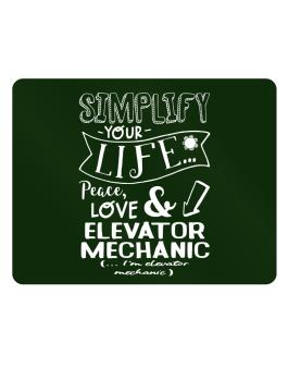 Simplify your life: Peace, love and Elevator Mechanic Parking Sign - Horizontal