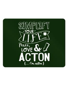 Simplify your life: Peace, love and Acton Parking Sign - Horizontal