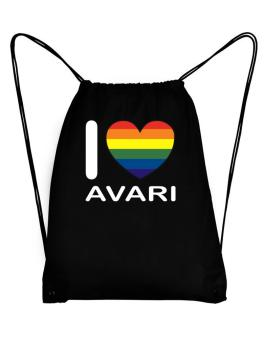 I Love Avari - Rainbow Heart Sport Bag