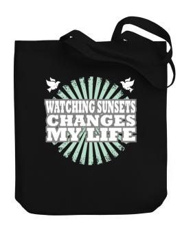 Watching Sunsets Changes My Life Canvas Tote Bag
