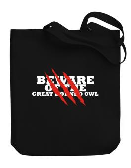 Beware Of The Great Horned Owl Canvas Tote Bag