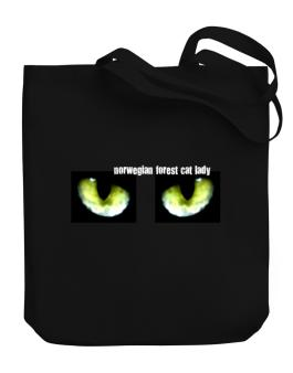 Norwegian Forest Cat Lady Canvas Tote Bag