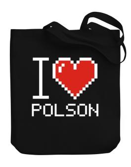 I love Polson pixelated Canvas Tote Bag