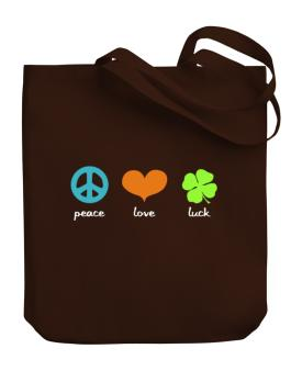 Peace Love & Luck Canvas Tote Bag