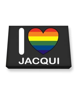 I Love Jacqui - Rainbow Heart Canvas square