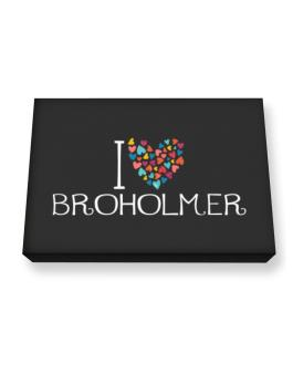 I love Broholmer colorful hearts Canvas square