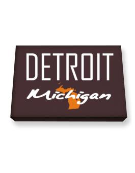 """"""" Detroit - State Map """" Canvas square"""