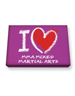 I love MMA Mixed Martial Arts chalk style Canvas square