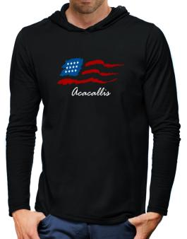 Acacallis - Us Flag Hooded Long Sleeve T-Shirt-Mens