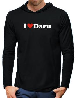 I Love Daru Hooded Long Sleeve T-Shirt-Mens