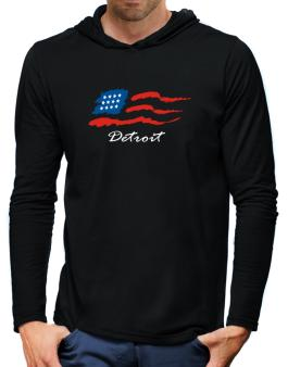 Detroit - Us Flag Hooded Long Sleeve T-Shirt-Mens