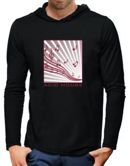 Acid House - Musical Notes Hooded Long Sleeve T-Shirt-Mens