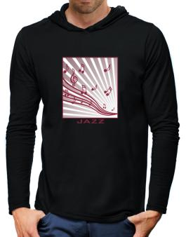 Jazz - Musical Notes Hooded Long Sleeve T-Shirt-Mens