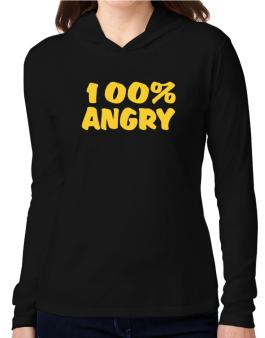 100% Angry Hooded Long Sleeve T-Shirt Women
