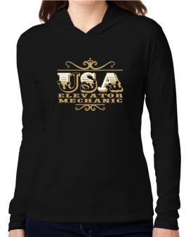 Usa Elevator Mechanic Hooded Long Sleeve T-Shirt Women