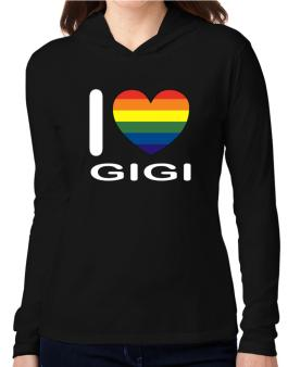 I Love Gigi - Rainbow Heart Hooded Long Sleeve T-Shirt Women