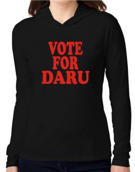 Vote For Daru Hooded Long Sleeve T-Shirt Women