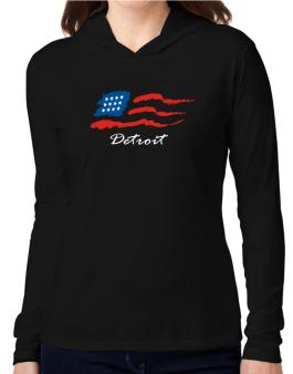 Detroit - Us Flag Hooded Long Sleeve T-Shirt Women