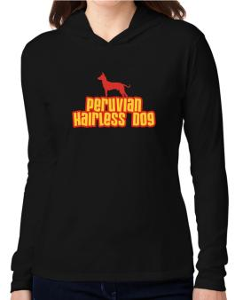 Breed Color Peruvian Hairless Dog Hooded Long Sleeve T-Shirt Women