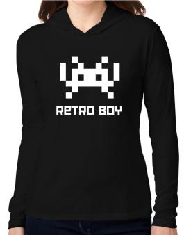 Retro Boy Hooded Long Sleeve T-Shirt Women
