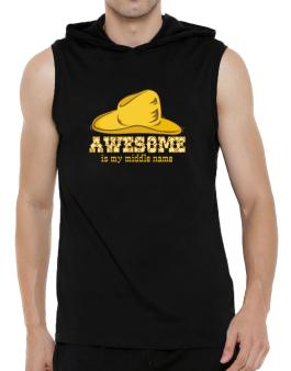 Awesome Is My Middle Name Hooded Sleeveless T-Shirt - Mens