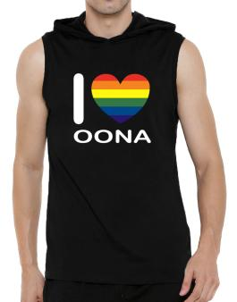 I Love Oona - Rainbow Heart Hooded Sleeveless T-Shirt - Mens