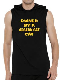Owned By S Aegean Cat Hooded Sleeveless T-Shirt - Mens