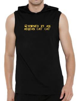 Owned By An Aegean Cat Hooded Sleeveless T-Shirt - Mens