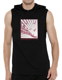 Hardstyle - Musical Notes Hooded Sleeveless T-Shirt - Mens