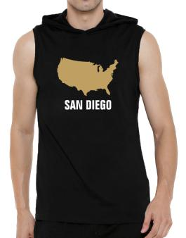 San Diego - Usa Map Hooded Sleeveless T-Shirt - Mens