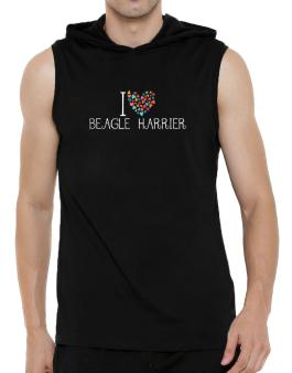 I love Beagle Harrier colorful hearts Hooded Sleeveless T-Shirt - Mens